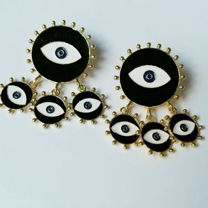 NEW Mystic Eye Gold/Black Disc Dangle Earrings